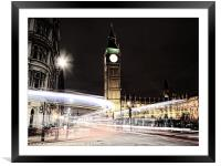 Big Ben with Light Trails, Framed Mounted Print