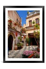 Sunny Piazza, Framed Mounted Print