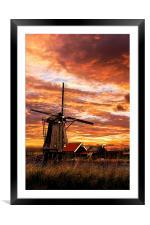 Sunrise on a dutch windmills, Framed Mounted Print