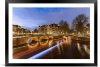 Amsterdam canal by night, Framed Mounted Print