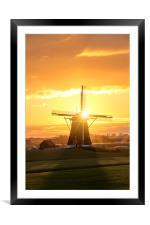 Sunrise windmill, Framed Mounted Print