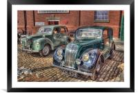 Morris 8 & Ford Prefect HDR, Framed Mounted Print
