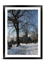 Friezland Church with snow, Framed Mounted Print