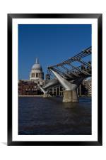 Millenium bridge and St Pauls, Framed Mounted Print
