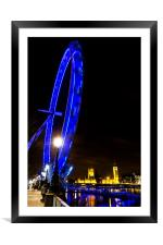London Eye at Night, Framed Mounted Print