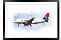 Air Serbia Airbus A319 Art, Framed Mounted Print