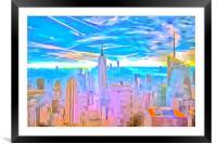 Manhattan Skyline Pop Art, Framed Mounted Print