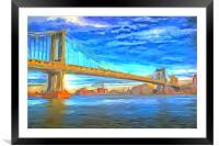Manhattan Bridge Pop Art, Framed Mounted Print
