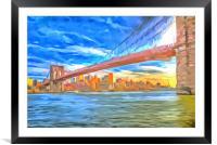 Brooklyn Bridge Pop Art, Framed Mounted Print