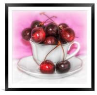a cup of cherries, Framed Mounted Print