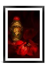 Oriental Snuff Bottle and Alstroemeria, Framed Mounted Print