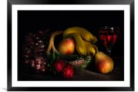Fruit Still Life With Wine, Framed Mounted Print