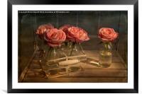 Milk Bottle Roses, Framed Mounted Print