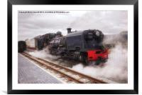 Steam Engine in Porthmadog, Framed Mounted Print