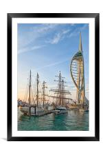 Old & New at Gunwharf Quays, Framed Mounted Print