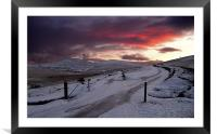 Winter Sunset West Mill and Yes Tor, Framed Mounted Print