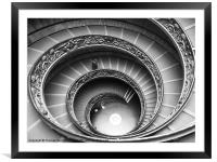 Spiral Staircase of the Vatican Museum, Framed Mounted Print