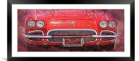 Vintage Red Vette, Framed Mounted Print