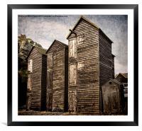 Fishermens Huts at Hastings, Framed Mounted Print