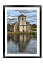 Bisham Church Reflected, Framed Mounted Print