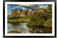 Caerphilly Castle Western Towers, Framed Mounted Print