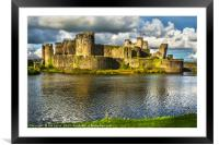 Caerphilly Castle Walls, Framed Mounted Print