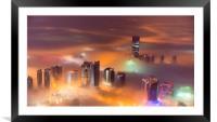 Misty City, Framed Mounted Print