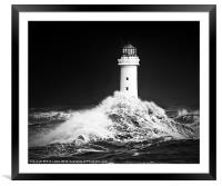 "New Brighton lighthouse, "" Facing the storm"", Framed Mounted Print"