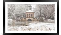 Snowfall,The Roman Boathouse ,Birkenhead park, Framed Mounted Print