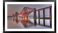 Forth Rail Bridge at sunset, Framed Mounted Print