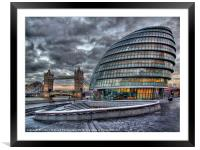 City Hall and Tower Bridge, Framed Mounted Print