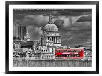 The Red Bus And Saint Pauls Cathederal london, Framed Mounted Print