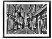The Shambles York BW, Framed Mounted Print
