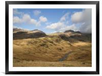 Dappled Sun On Lake District Hills, Framed Mounted Print