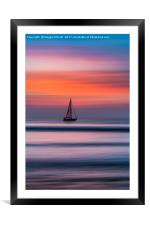 Yacht Sailing At Sunset, Framed Mounted Print