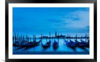 Moving Gondolas  at Twilight, Venice., Framed Mounted Print