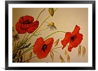 Common Red Poppy with Hare bell and Mayweed, Framed Mounted Print