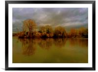 Autumn morning scene over the lake in Rickmanswor, Framed Mounted Print