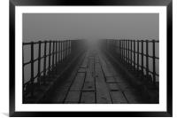 Wooden Pier in fog, Framed Mounted Print