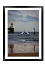 Pilot boat leaving harbour, Framed Mounted Print