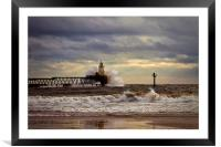 Storm at the harbour mouth, Framed Mounted Print