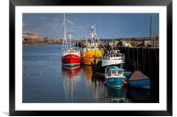 Fishing boats in harbour, Framed Mounted Print