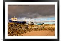 Boatyard under threatening sky, Framed Mounted Print