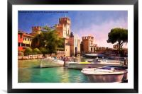 Sirmione Scaliger Castle with artistic filter, Framed Mounted Print