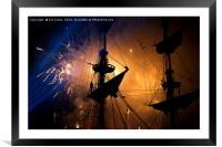 Fireworks and Tall Ships, Framed Mounted Print