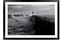 Stormy weather at Tynemouth, Framed Mounted Print