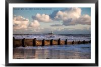 Sunny morning and stormy sea, Framed Mounted Print