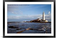 St Mary's Island and Lighthouse, Framed Mounted Print