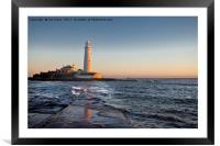 St Mary's Island under a pastel sky, Framed Mounted Print