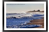 Waves rolling in from the sea, Framed Mounted Print